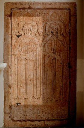 Lastra tombale di Baldo e Sibilia Bonafari,particolare di Baldo