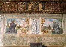 1575. I coniugi Baldo e Sibilia Bonafari ritratti dal Varotari nell'affresco parietale della sala della Scuola della Carità, di Padova